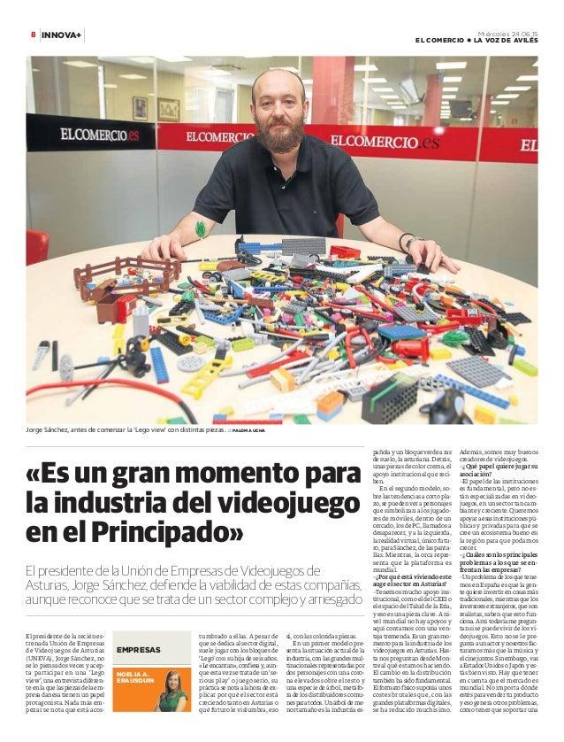 El presidente de la recién es- trenada Unión de Empresas de Videojuegos de Asturias (UNEVA), Jorge Sánchez, no se lo piens...