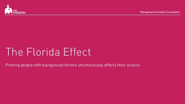 The Florida Effect Priming people with background factors unconsciously affects their actions