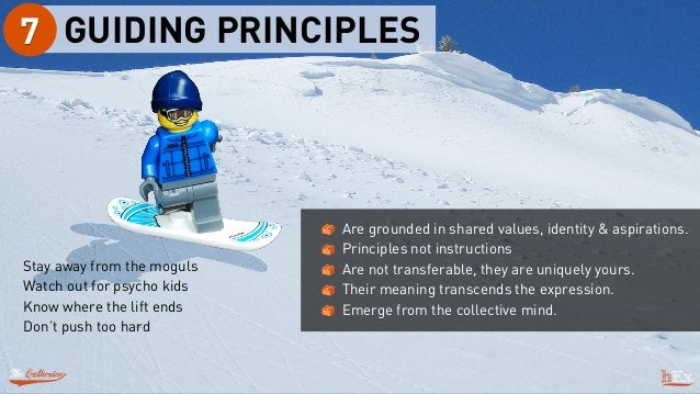 GUIDING PRINCIPLES7 Stay away from the moguls Watch out for psycho kids Know where the lift ends Don't push too hard Are g...