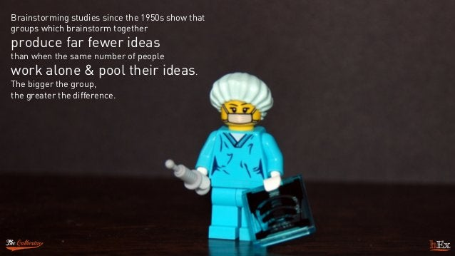 Brainstorming studies since the 1950s show that groups which brainstorm together  produce far fewer ideas  than when the...