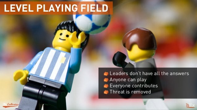 LEVEL PLAYING FIELD Leaders don't have all the answers Anyone can play Everyone contributes Threat is removed