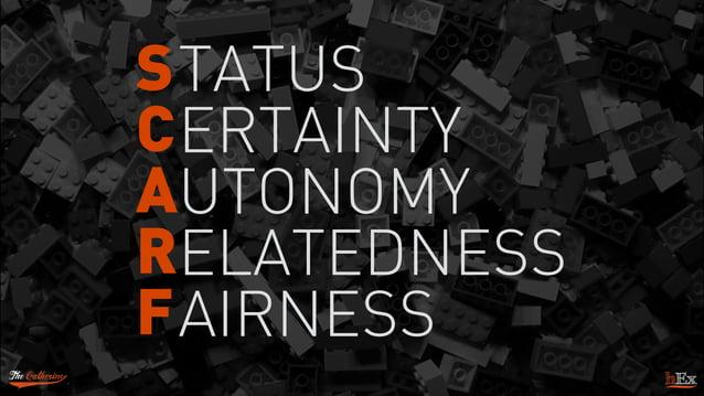 S C A R F TATUS ERTAINTY UTONOMY ELATEDNESS AIRNESS