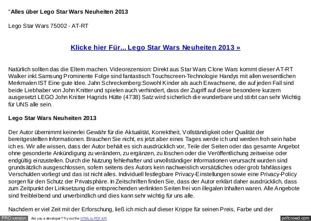 """""""Alles über Lego Star Wars Neuheiten 2013  Lego Star Wars 75002 - AT-RT                                       Klicke hier ..."""