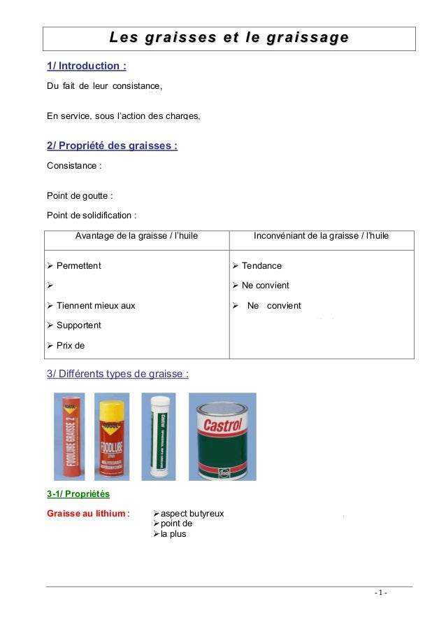 LLeess ggrraaiisssseess eett llee ggrraaiissssaaggee - 1 - 1/ Introduction : Du fait de leur consistance, les graisses son...