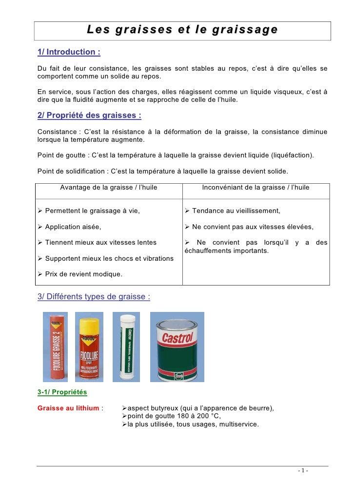 Les graisses et le graissage 1/ Introduction : Du fait de leur consistance, les graisses sont stables au repos, c'est • di...
