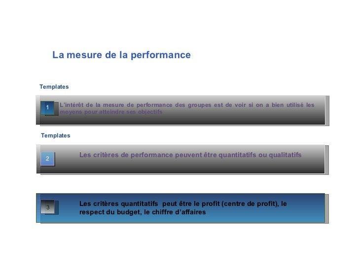 La   mesure de la performance L'intérêt de la mesure de performance des groupes est de voir si on a bien utilisé les moyen...
