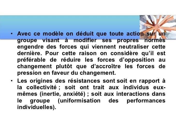 <ul><li>Avec ce modèle on déduit que toute action sur un groupe visant à modifier ses propres normes engendre des forces q...