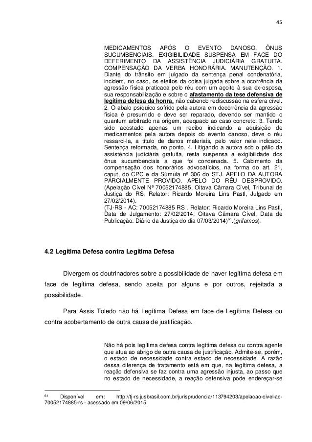 Legítima defesa. monografia sub ten pm ludivaldo.