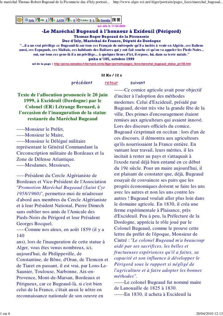 le maréchal Thomas Robert Bugeaud de la Piconnerie duc d'Isly portrait... http://www.alger-roi.net/Alger/portraits/pages_l...