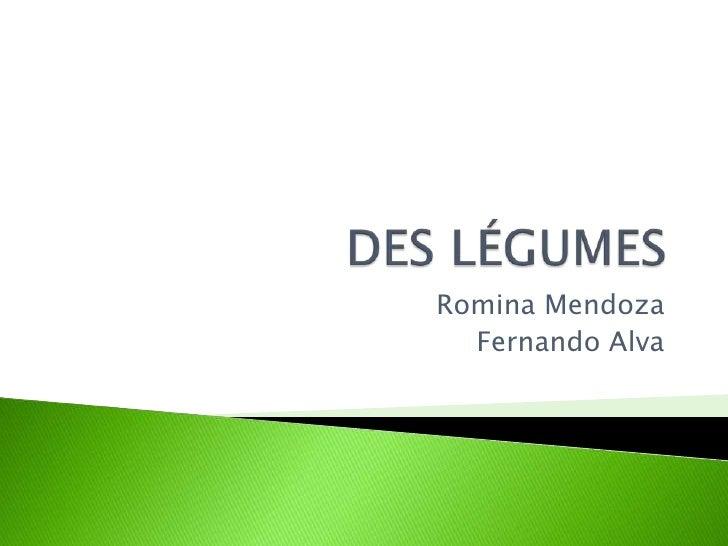 DES LÉGUMES<br />Romina Mendoza<br />Fernando Alva<br />