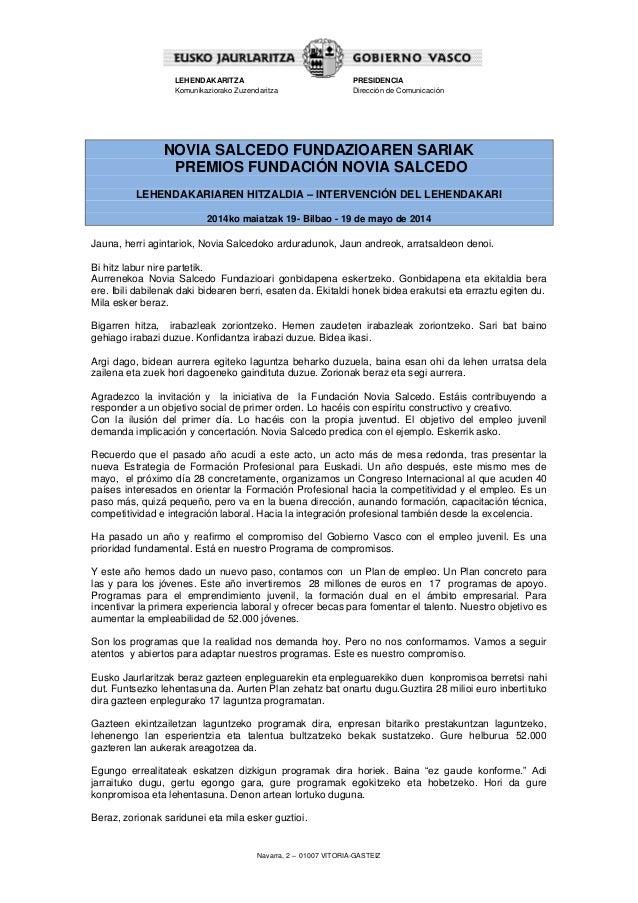 Navarra, 2 – 01007 VITORIA-GASTEIZ LEHENDAKARITZA Komunikaziorako Zuzendaritza PRESIDENCIA Dirección de Comunicación NOVIA...