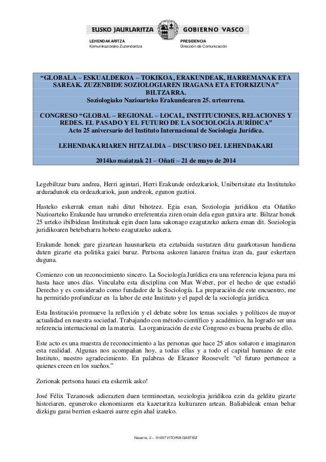 """Navarra, 2 – 01007 VITORIA-GASTEIZ LEHENDAKARITZA Komunikaziorako Zuzendaritza PRESIDENCIA Dirección de Comunicación """"GLOB..."""