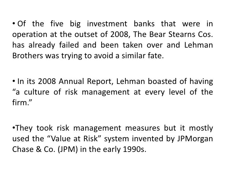 the failure of lehman brother The lehman brothers crisis was different in nature than the failures of bear stearns and aig, and the treasury and the fed responded appropriately, an economist and former treasury.