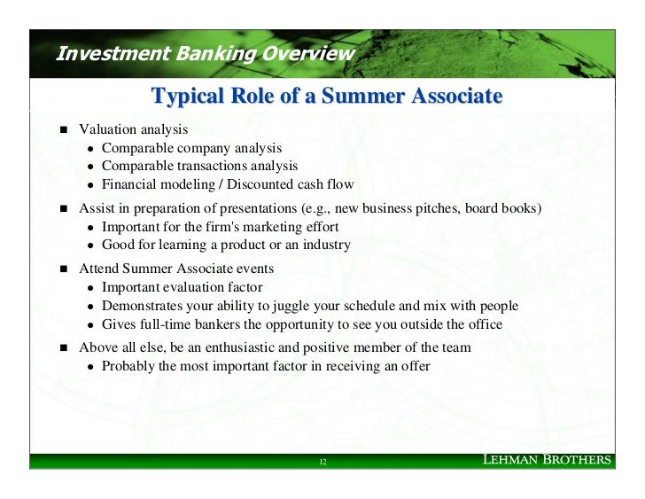 Investment Banking Overview                Typical Role of a Summer Associate   Valuation analysis      Comparable company...