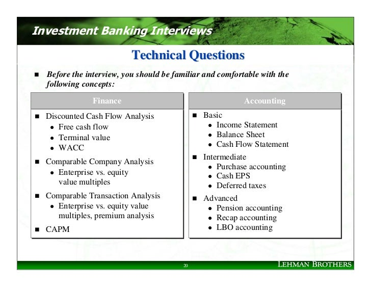 Investment Banking Interviews                            Technical Questions   Before the interview, you should be familia...