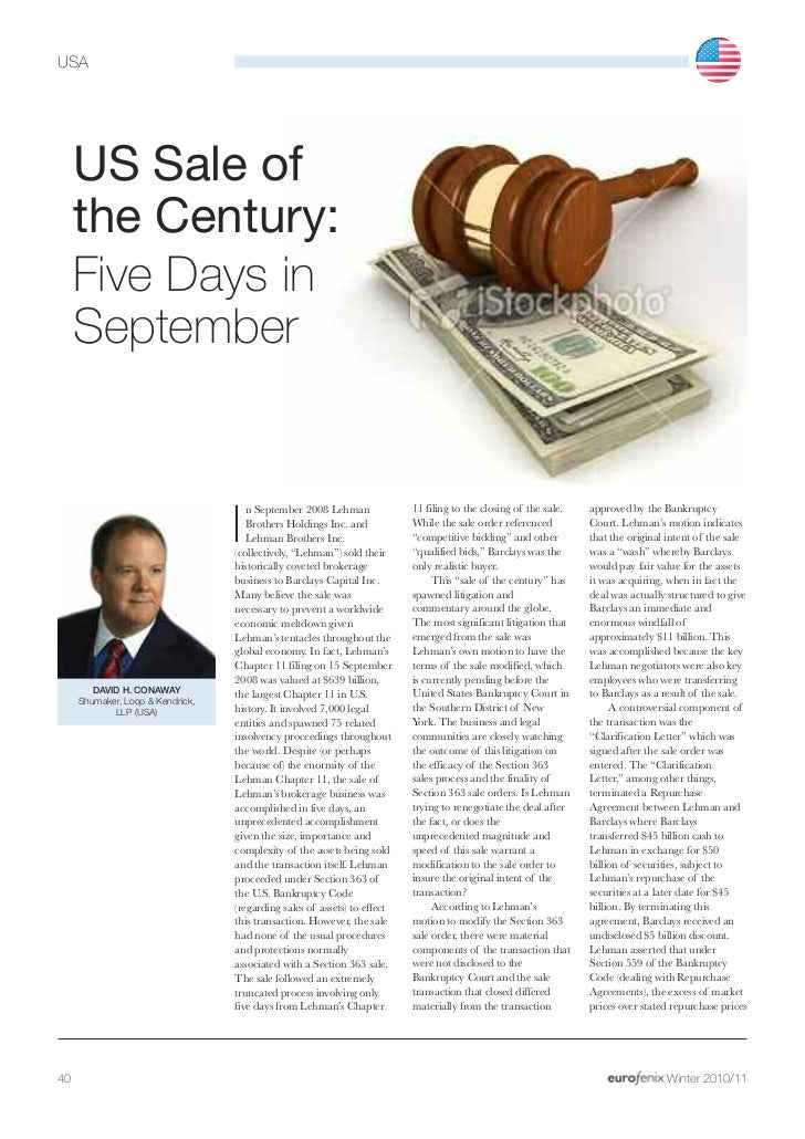 USA     US Sale of     the Century:     Five Days in     September                                     n September 2008 Le...