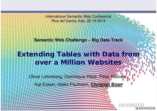 Slide 1  International Semantic Web Conference  Riva del Garda, Italy, 22.10.2014  Semantic Web Challenge – Big Data Track...