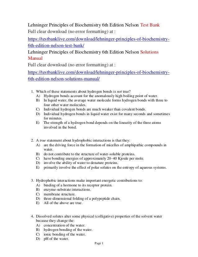 Download Lehninger Principles Of Biochemistry 5th Edition