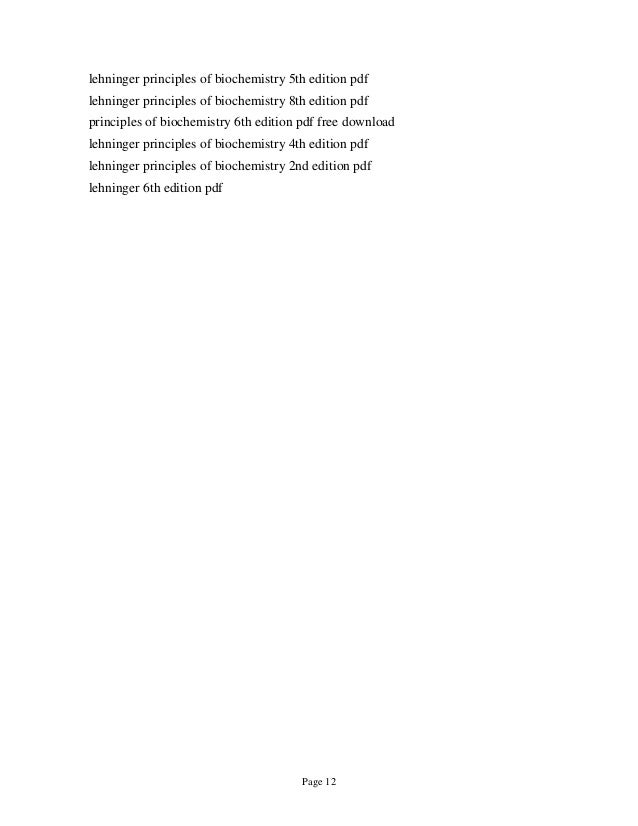Lehninger Principles Of Biochemistry 6th Edition Nelson Test Bank