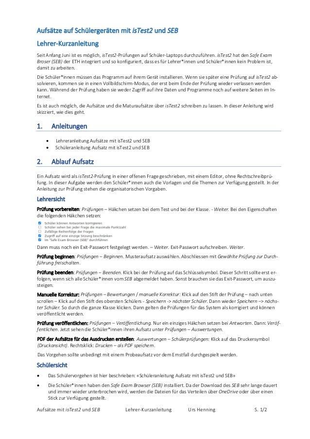 AufsätzemitisTest2undSEB Lehrer‐Kurzanleitung UrsHenning S. 1/2 AufsätzeaufSchülergerätenmitisTest2undSEB L...