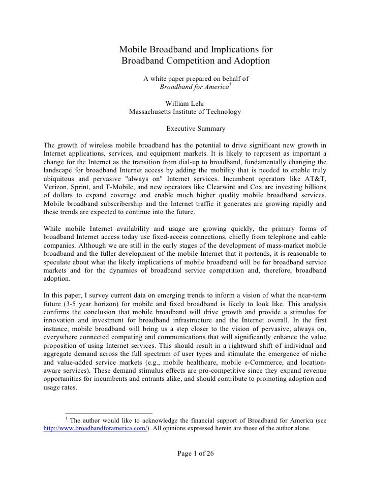 Mobile Broadband and Implications for                           Broadband Competition and Adoption                        ...