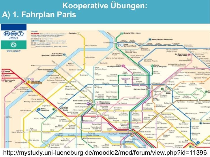 Kooperative Übungen: A) 1. Fahrplan Paris     http://mystudy.uni-lueneburg.de/moodle2/mod/forum/view.php?id=11396
