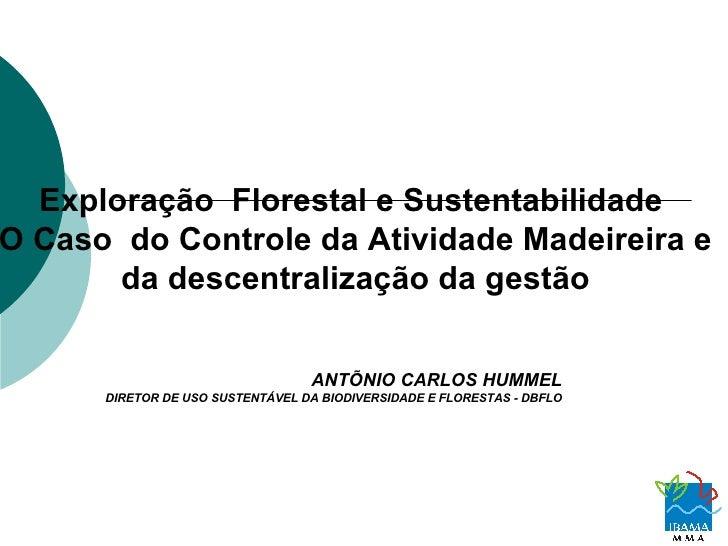 Exploração  Florestal e Sustentabilidade  O Caso  do Controle da Atividade Madeireira e da descentralização da gestão ANTÕ...