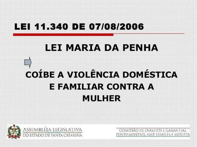 LEI 11.340 DE 07/08/2006     LEI MARIA DA PENHA  COÍBE A VIOLÊNCIA DOMÉSTICA      E FAMILIAR CONTRA A             MULHER