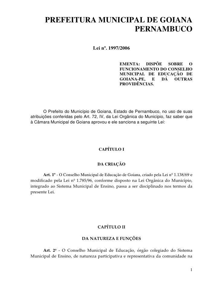 PREFEITURA MUNICIPAL DE GOIANA                           PERNAMBUCO                                    Lei nº. 1997/2006  ...