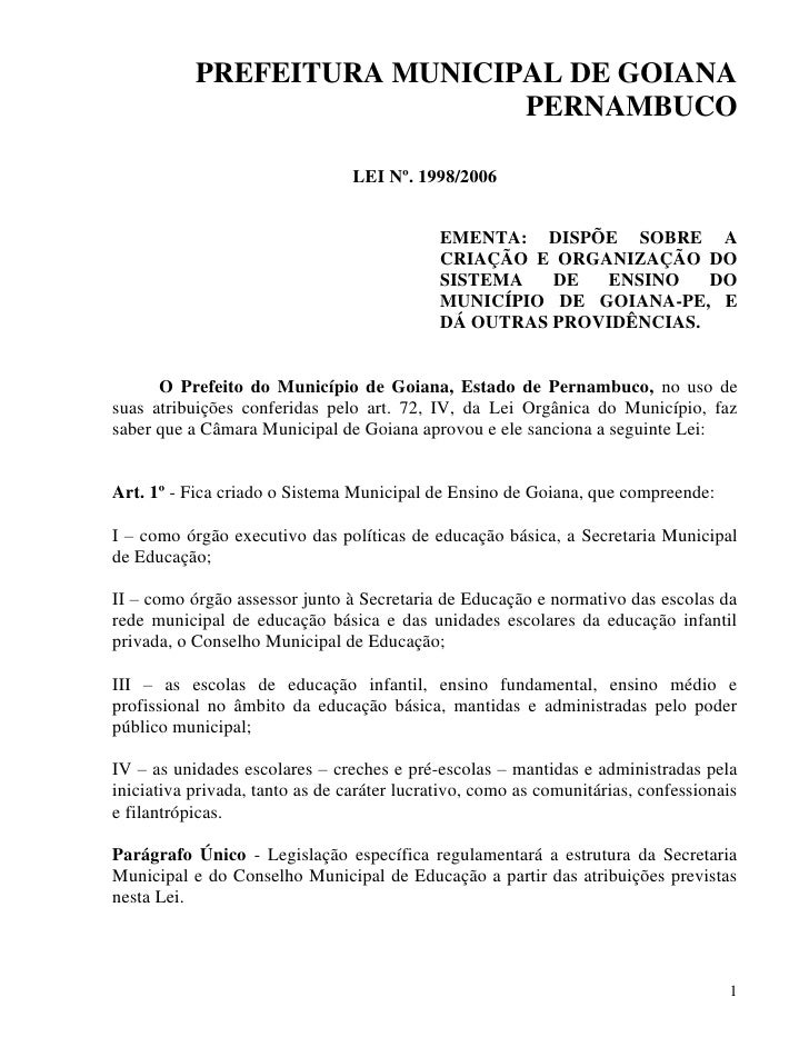 PREFEITURA MUNICIPAL DE GOIANA                              PERNAMBUCO                                   LEI Nº. 1998/2006...