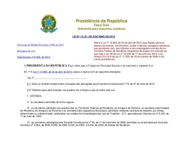 Presidência da República Casa Civil Subchefia para Assuntos Jurídicos LEI Nº 13.121, DE 8 DE MAIO DE 2015. Conversão da Me...