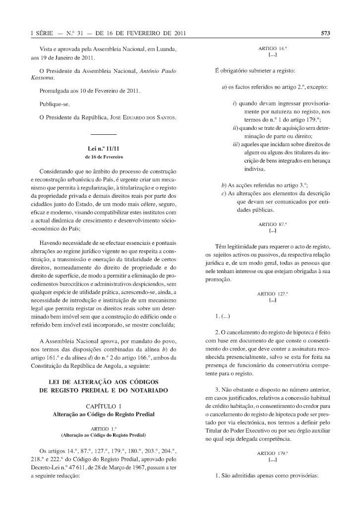 Lei 11 11 alteração aos codigos de registo predial e do notariado