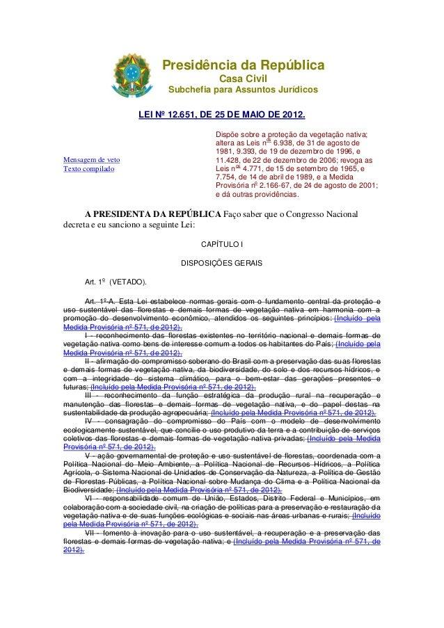 Presidência da República Casa Civil Subchefia para Assuntos Jurídicos LEI Nº 12.651, DE 25 DE MAIO DE 2012. Mensagem de ve...