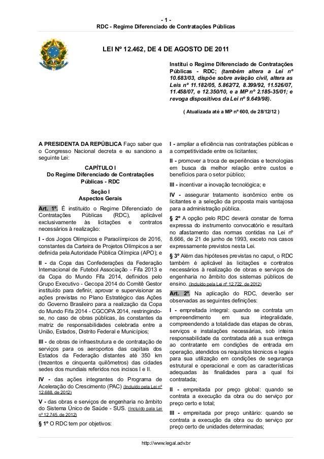 -1-                            RDC - Regime Diferenciado de Contratações Públicas                              LEI Nº 12.4...