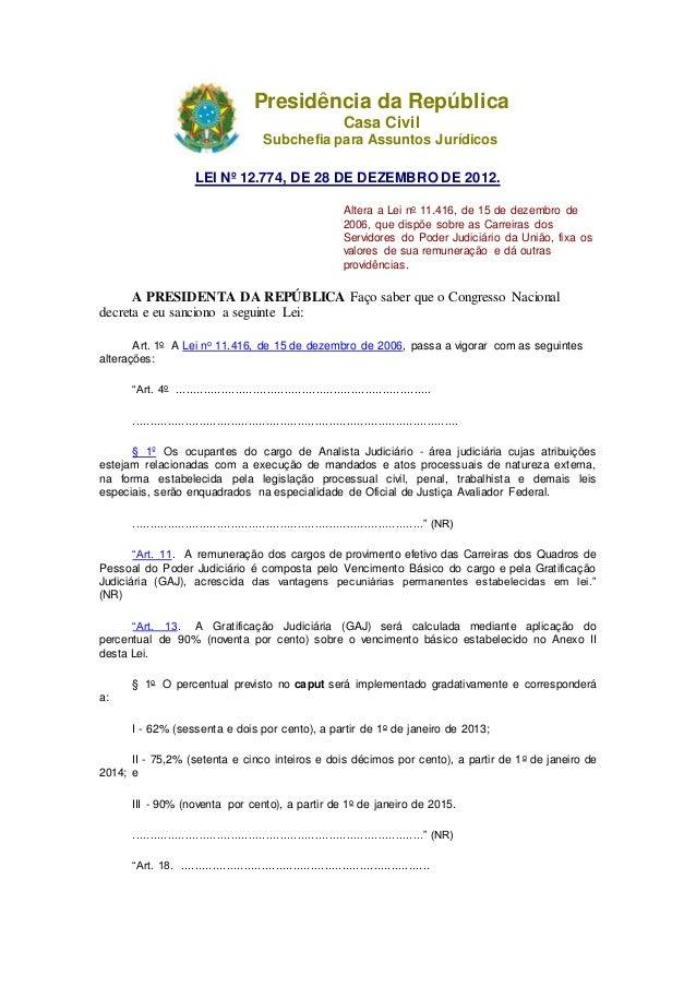 Presidência da República Casa Civil Subchefia para Assuntos Jurídicos LEI Nº 12.774, DE 28 DE DEZEMBRO DE 2012. Altera a L...