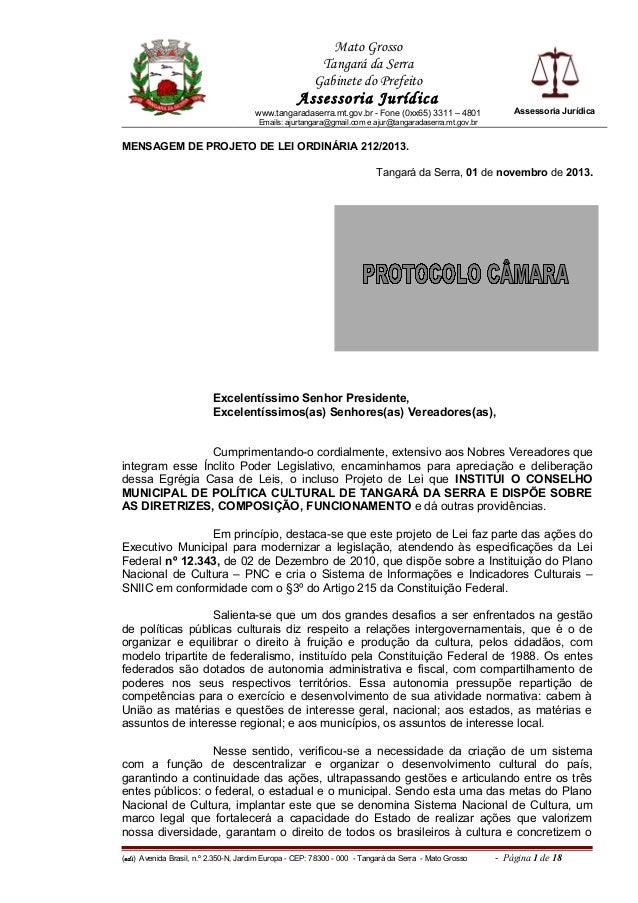 Mato Grosso Tangará da Serra Gabinete do Prefeito  Assessoria Jurídica  Assessoria Jurídica  www.tangaradaserra.mt.gov.br ...