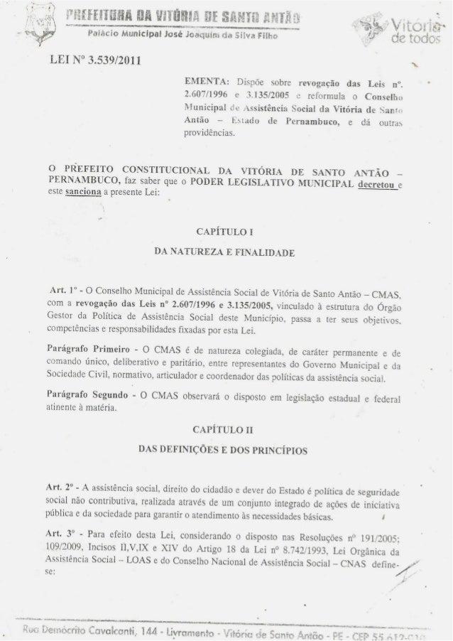 Lei 3.539/2011 - Lei que regulamenta o CMAS/VSA.