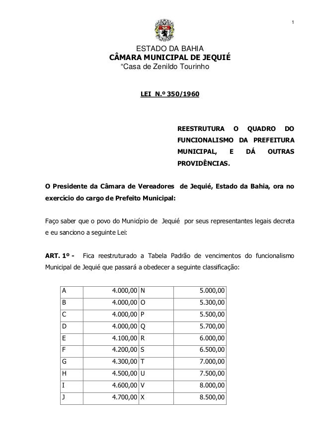 """ESTADO DA BAHIA CÂMARA MUNICIPAL DE JEQUIÉ """"Casa de Zenildo Tourinho 1 LEI N.º 350/1960 REESTRUTURA O QUADRO DO FUNCIONALI..."""