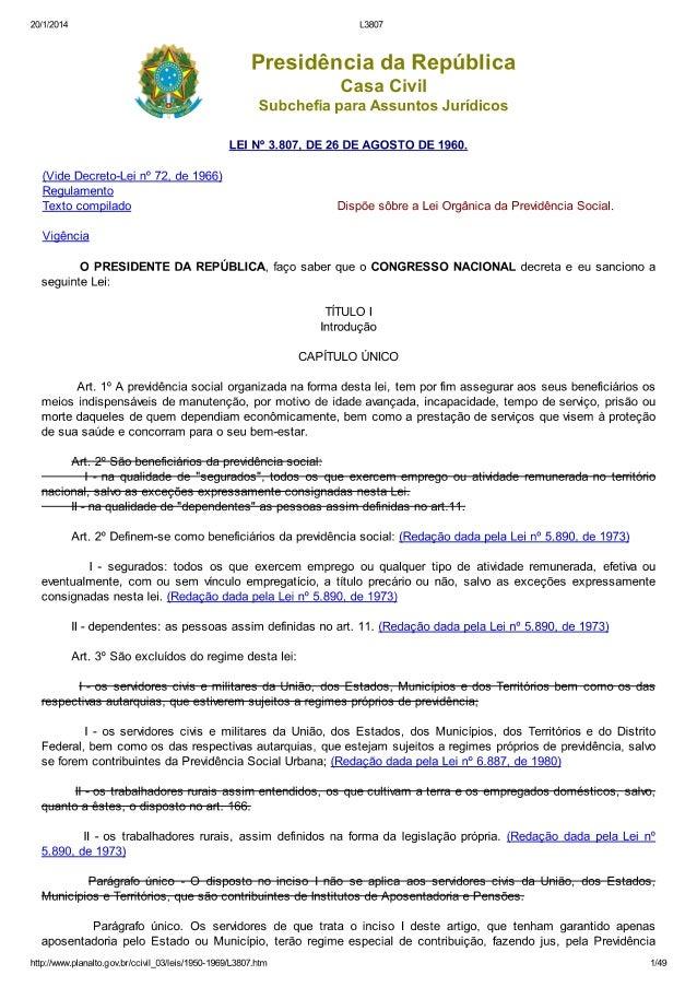 Lei 3807 de 1969   dispõe sobre a lei orgânica da previdência social
