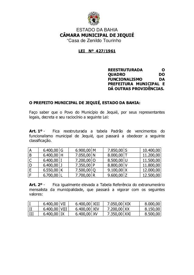 """ESTADO DA BAHIA CÂMARA MUNICIPAL DE JEQUIÉ """"Casa de Zenildo Tourinho LEI Nº 427/1961 REESTRUTURADA O QUADRO DO FUNCIONALIS..."""