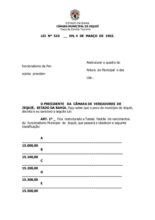 """ESTADO DA BAHIA CÂMARA MUNICIPAL DE JEQUIÉ """"Casa de Zenildo Tourinho LEI Nº 510 __ EM, 4 DE MARÇO DE 1963. Restruturar o q..."""