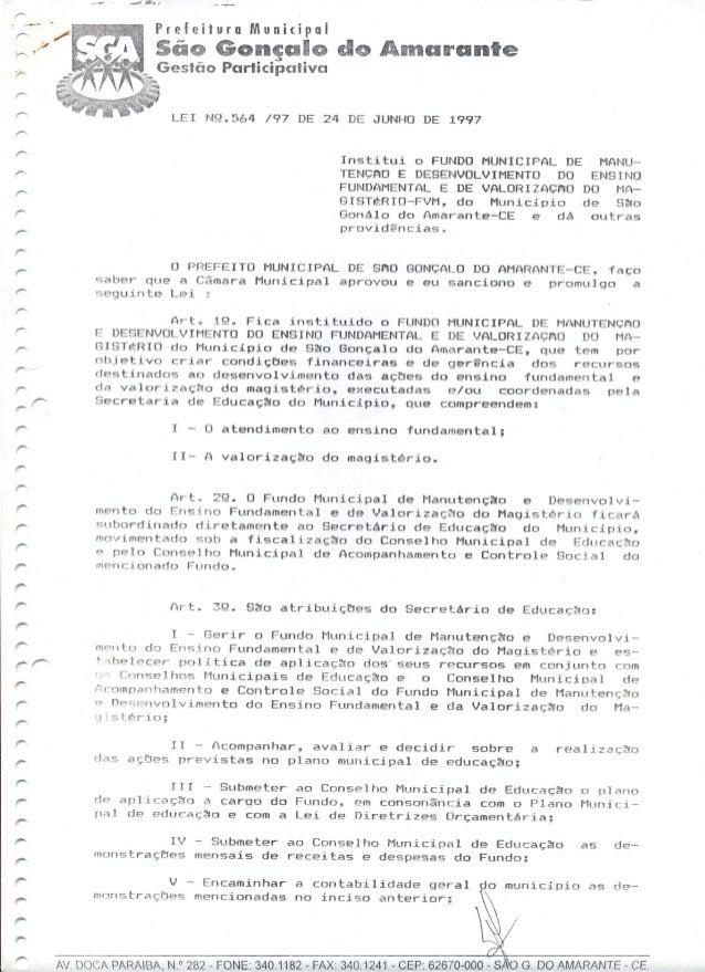 Lei 564 - Fundo Municipal de Manutenção e desenvolvimento do Ensino Fundamental e de Valorização do Magistério