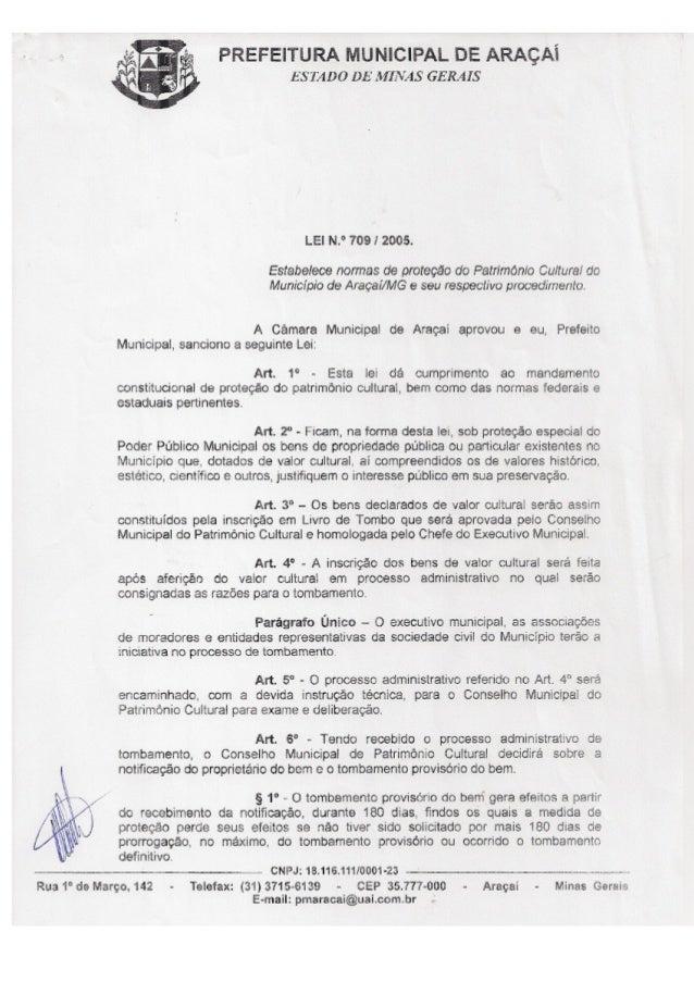 Lei 709 2005 normas de proteção do Patrimônio Cultural