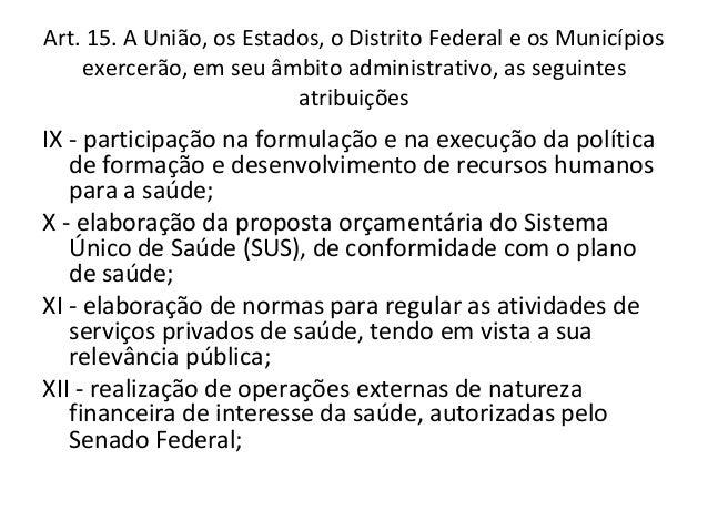 Art. 15. A União, os Estados, o Distrito Federal e os Municípios    exercerão, em seu âmbito administrativo, as seguintes ...