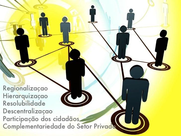 RegionalizaçaoHierarquizaçaoResolubilidadeDescentralizaçaoParticipação dos cidadãosComplementariedade do Setor Privado
