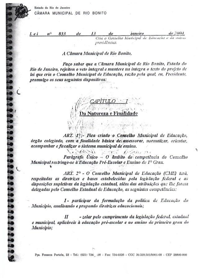 c       n    Estado do Rio de Janeiro CÂMARA MUNICIPAL , DE RIO _BONITO  L e i n° 833 de 13 de janeiro dzgillllli).  (iria...