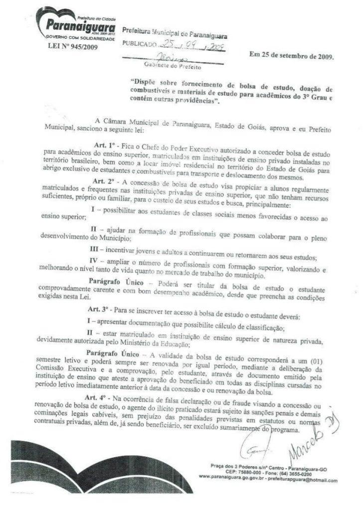 Lei 945 2009 - concessão de bolsas universitárias