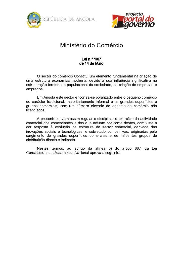 MinistériodoComércio                                     Lein.°1/07                                    de14deMaio...
