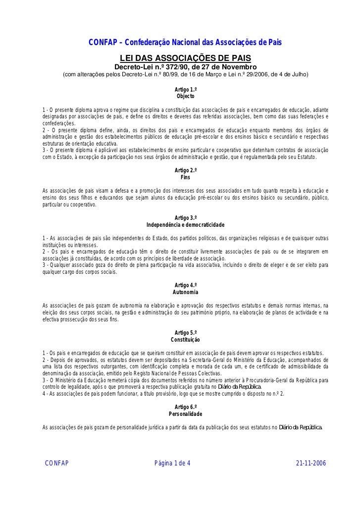 CONFAP – Confederação Nacional das Associações de Pais                                   LEI DAS ASSOCIAÇÕES DE PAIS      ...