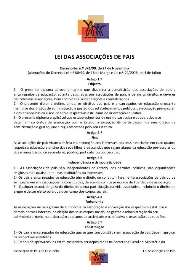 LEI DAS ASSOCIAÇÕES DE PAIS Decreto-Lei n.º 372/90, de 27 de Novembro (alterações do Decreto-Lei n.º 80/99, de 16 de Março...